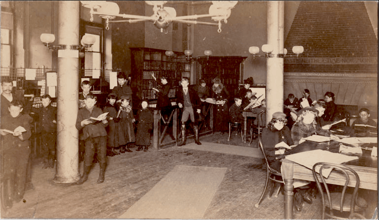 The Astral - library in the basement, circa 1900