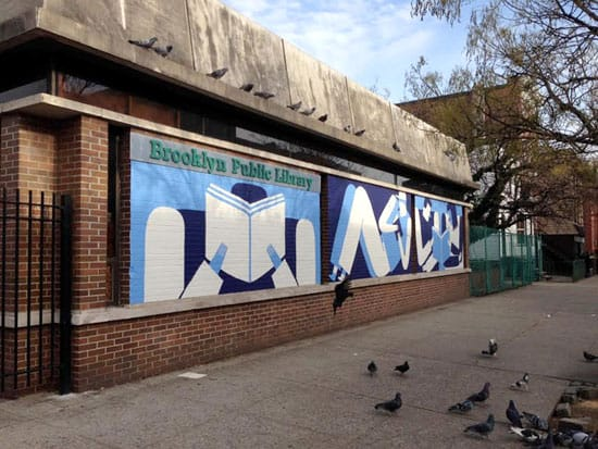 greenpoint library mural leslie wood