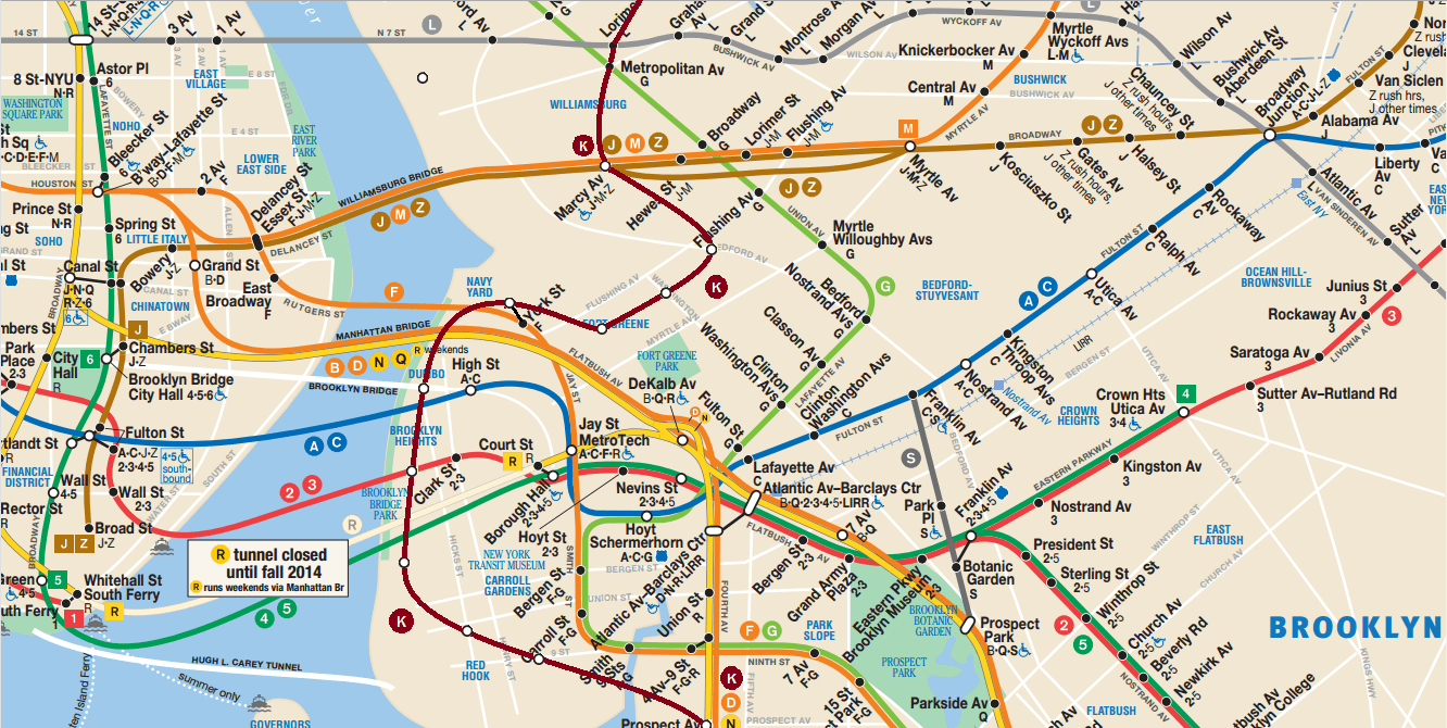 Brooklyn Neighborhoods With Subway Map.We Invented A New Subway Line Over The New Kosciuszko Bridge And