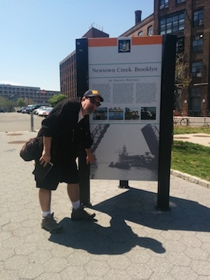 Mitch makes useful gestures at Newtown Creek sign