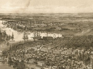 1851 view of Brooklyn Navy Yard looking north towards Greenpoint