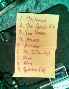 The NRIs set list for the Pine Box Rock Shop on March 21.