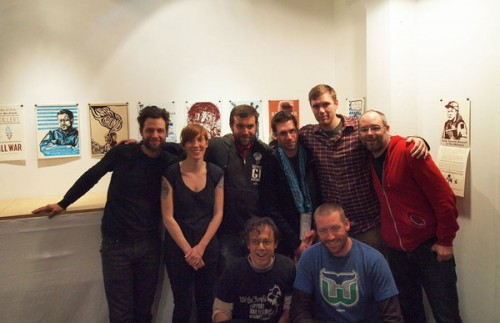 """Some Justseeds, IVAW, and Booklyn members at the """"War is Trauma"""" portfolio opening ©Booklyn"""