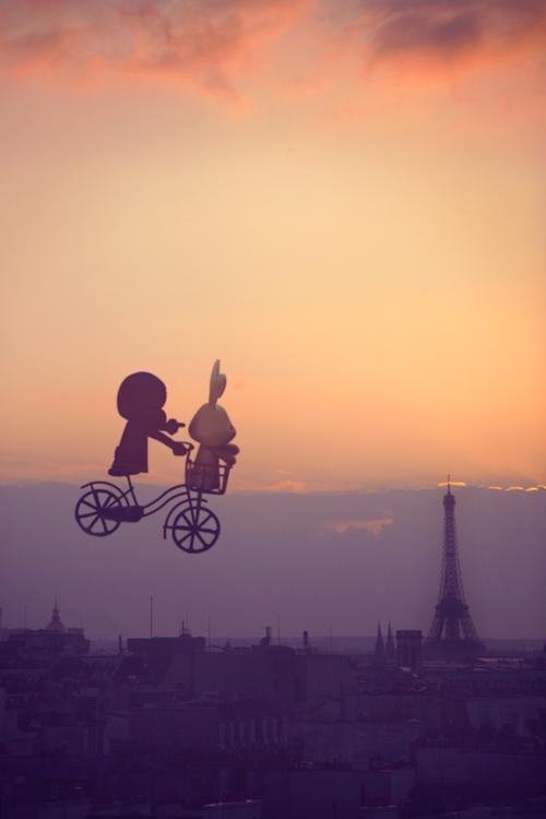 Rabbit and Monkey on their first trip to Paris c/o Coffee & Chocolate Milk via Facebook
