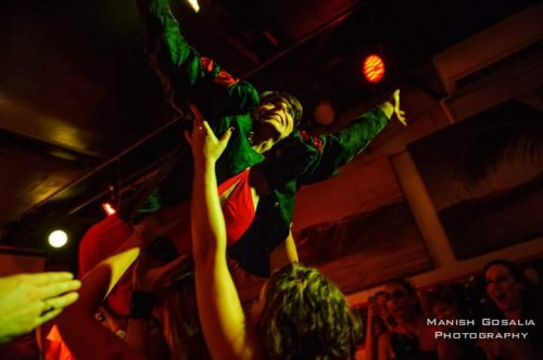 "© Manish Gosalia Photopgraphy. Abby Payne crowd surfing during the release show for ""Vampire Song"" at Pianos."