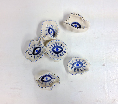 """""""Evil Eye Oyster Dishes,"""" (2014) c/o Claire Typaldos"""