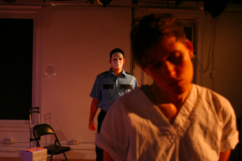 c/o Julia Steele Allen. Mariposa & the Saint: From Solitary Confinement, A Play Through Letters. Ray Huth plays the correctional officer and Julia Steele Allen plays Mariposa.