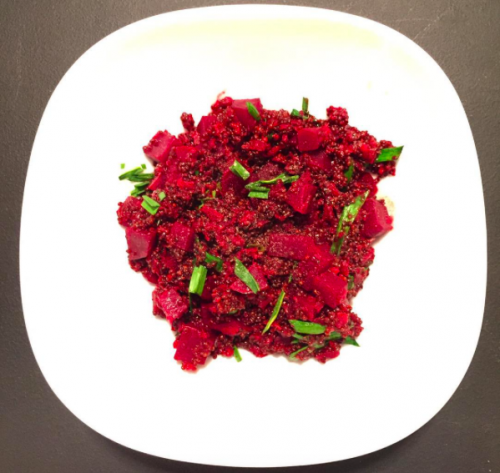 red quinoa risotto with beets, chives, parmesan & white pepper