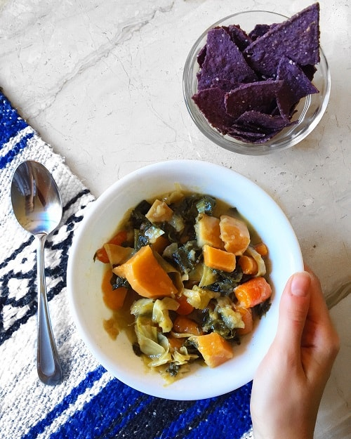 Sweet & Spicy Slow Cooker Root Vegetable Stew