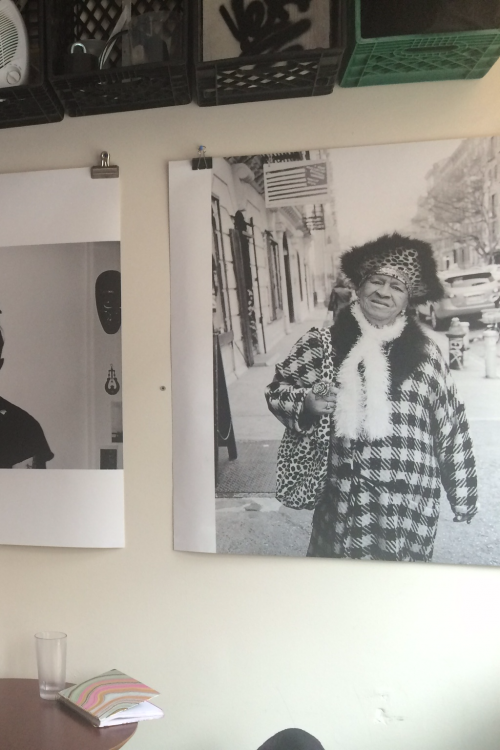 Photographs line the walls at Verb Café in Greenpoint.