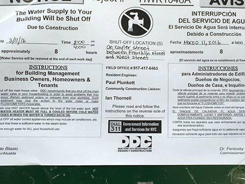 Calyer Street Water Shutoff Notice