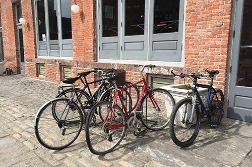 Bike rack in front of Glasserie on Commercial Street - Greenpoint.