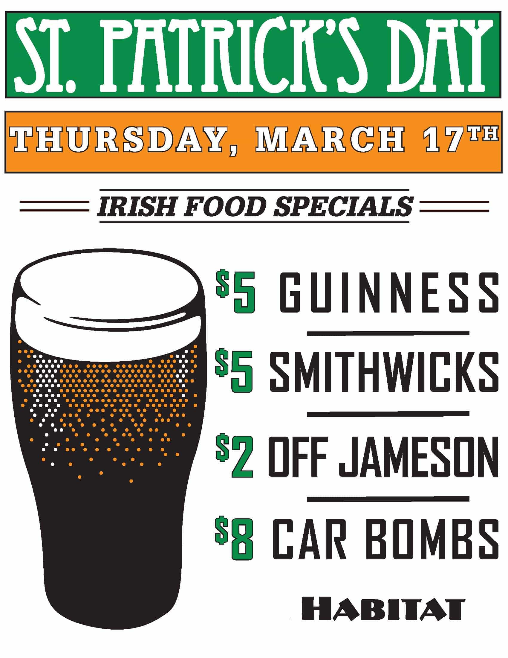 Poster detailing St Patrick's Day specials at Habitat