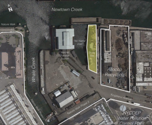The study site as seen from above via Newtown Creek Alliance