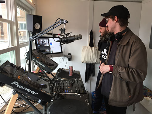 Inside the DJ booth at The Lot Radio.