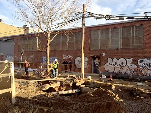 Water pipe burst on Calyer Street in Greenpoint