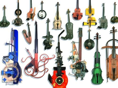 """Hybrid"" musical instruments by Ken Butler"
