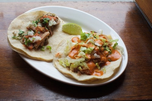 BROOKLYN, NY - April, 1 2016: New spring additions to the menu at Toro Ironworks in Greenpoint. CREDIT: Clay Williams. © Clay Williams / claywilliamsphoto.com BROOKLYN, NY - April, 1 2016: Jackfruit tacos, some of the new spring additions to the menu at Toro Ironworks in Greenpoint. CREDIT: Clay Williams. © Clay Williams / claywilliamsphoto.com