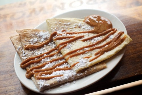 BROOKLYN, NY - April, 1 2016: New spring additions to the menu at Toro Ironworks in Greenpoint. CREDIT: Clay Williams. © Clay Williams / claywilliamsphoto.com BROOKLYN, NY - April, 1 2016: Tortillas Francesas, a take on crepes, filled with sugar and butter and topped with dulce de leche and powdered sugar. Seen here in whole wheat (left) and white flour (right), the desserts are among the new spring additions to the menu at Toro Ironworks in Greenpoint. CREDIT: Clay Williams. © Clay Williams / claywilliamsphoto.com