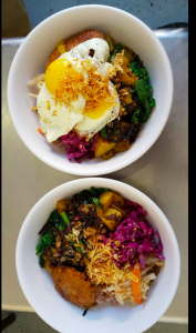 Whole grains, assorted vegetables of the day, and eggs; photo take from nhà minh Facebook page