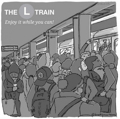 L Train Shutdown Illustration via @brooklyncartoons