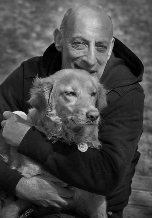 Courtesy of the author. Abramson with one of his dogs, Dianiella.