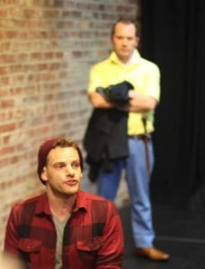 "Curt James (foreground) and Josh Krebs in ""Cymbeline"" at The Brick"