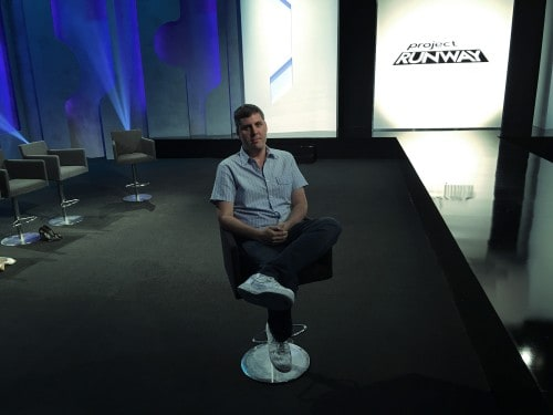 Eric Morrell, Art Director, on set at Project Runway stage in Long Island City