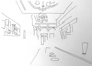 Bamonte's interior. Illustration by Kenzie Kline.