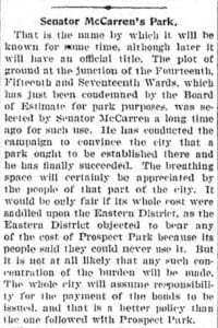 Senator McCarren's Park, Brooklyn Daily Eagle December 11, 1901