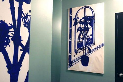 Hallway artwork by Kip Jacobs.