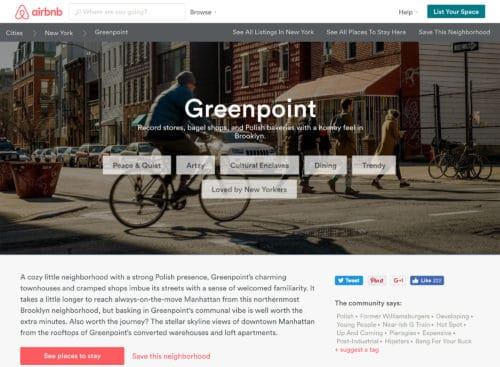 Greenpoint as described by Airbnb.