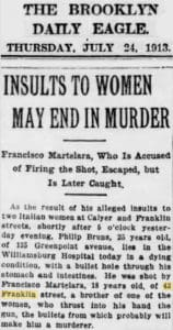 Brooklyn Daily Eagle - Murder in front of 43 Franklin St., 1913.