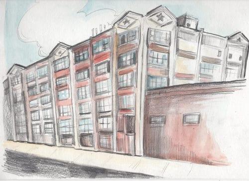 The Pencil Factory, illustration by Aubrey Nolan