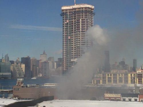 Fire on Greenpoint Avenue - Photo: Edward Winter
