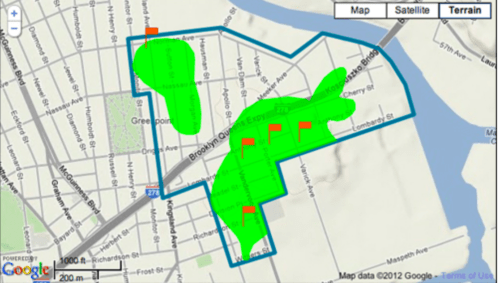 Meeker Ave. plume map