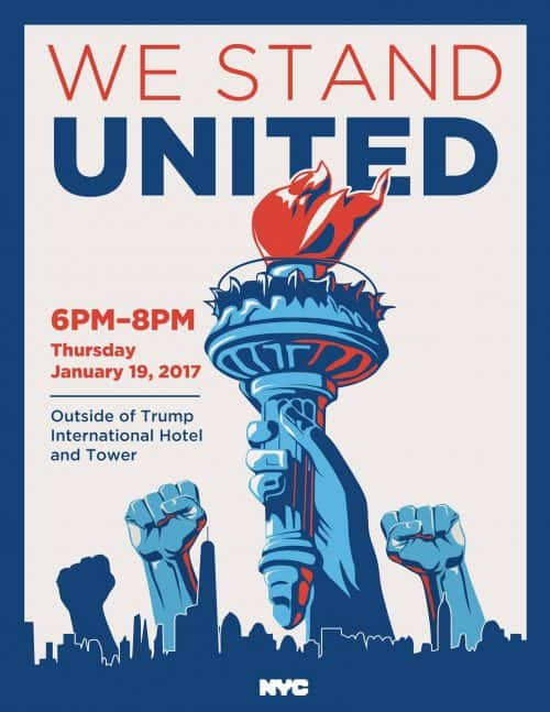 We Stand United: Protest At Trump Hotel