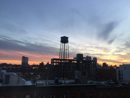 Greenpoint watertower sunset. Photo: Megan Penmann