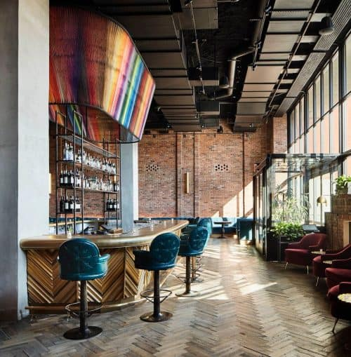 The bar at The Williamsburg Hotel, photo by Annie Schlechter