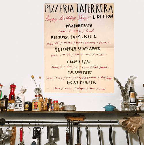 One of the menus at Pizzeria La Ferrera