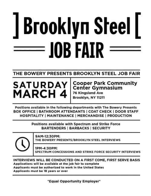 Brooklyn Steel Job Fair