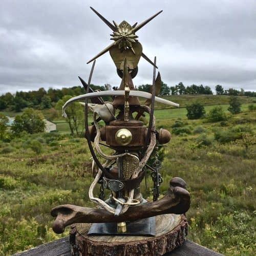 """Hekate,"" Susan Pullman Brooks. Private commission, found objects. Wood, metal, bone, glass, leather."