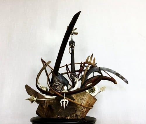"""Durga,"" Susan Pullman Brooks. Private commission. Wood, metal, horn, seed."