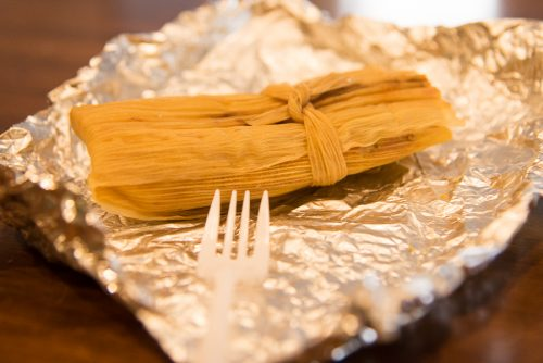 A veggie tamale from the Williamsburg farmer's market is the perfect snack!