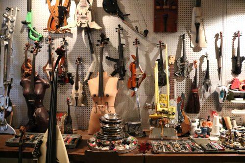 Instruments in Ken Butler's studio. Photo: Megan Penmann