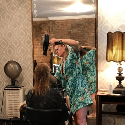 Nackie Karcher works on a client's hair at The Karcher, via Instagram