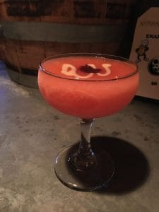 Fifth Course Cocktail: Frozen blood red Tokki Omija Soju | condensed milk | red bean. Photo via Nitehawk