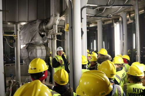 Participants on a tour of the Newtown Creek Wastewater Treatment Plant, inside the digester eggs. Photo: Megan Penmann