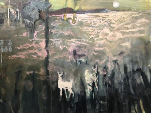Part of one of Hannah Hill's color-changing paintings