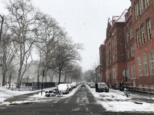 In front of McGolrick Park (left) and PS 110 The Monitor School during the snowstorm.